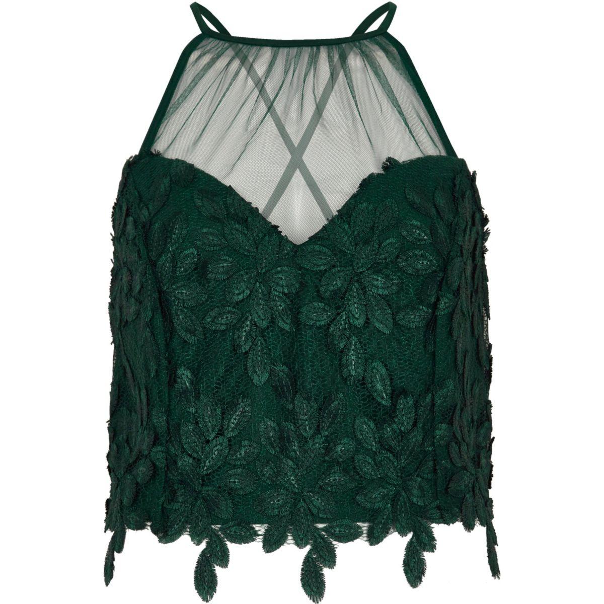 Green leaf lace mesh insert bralette