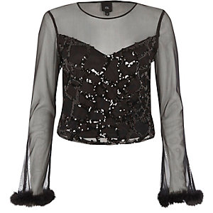Black mesh sequin long sleeve top