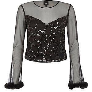 Black mesh sequin long sleeve top