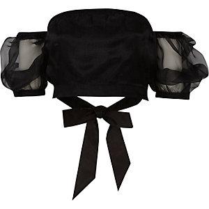 Crop top Bardot noir transparent à manches bouffantes