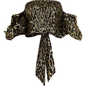 Zwarte jacquard crop top met bardothalslijn en pofmouwen