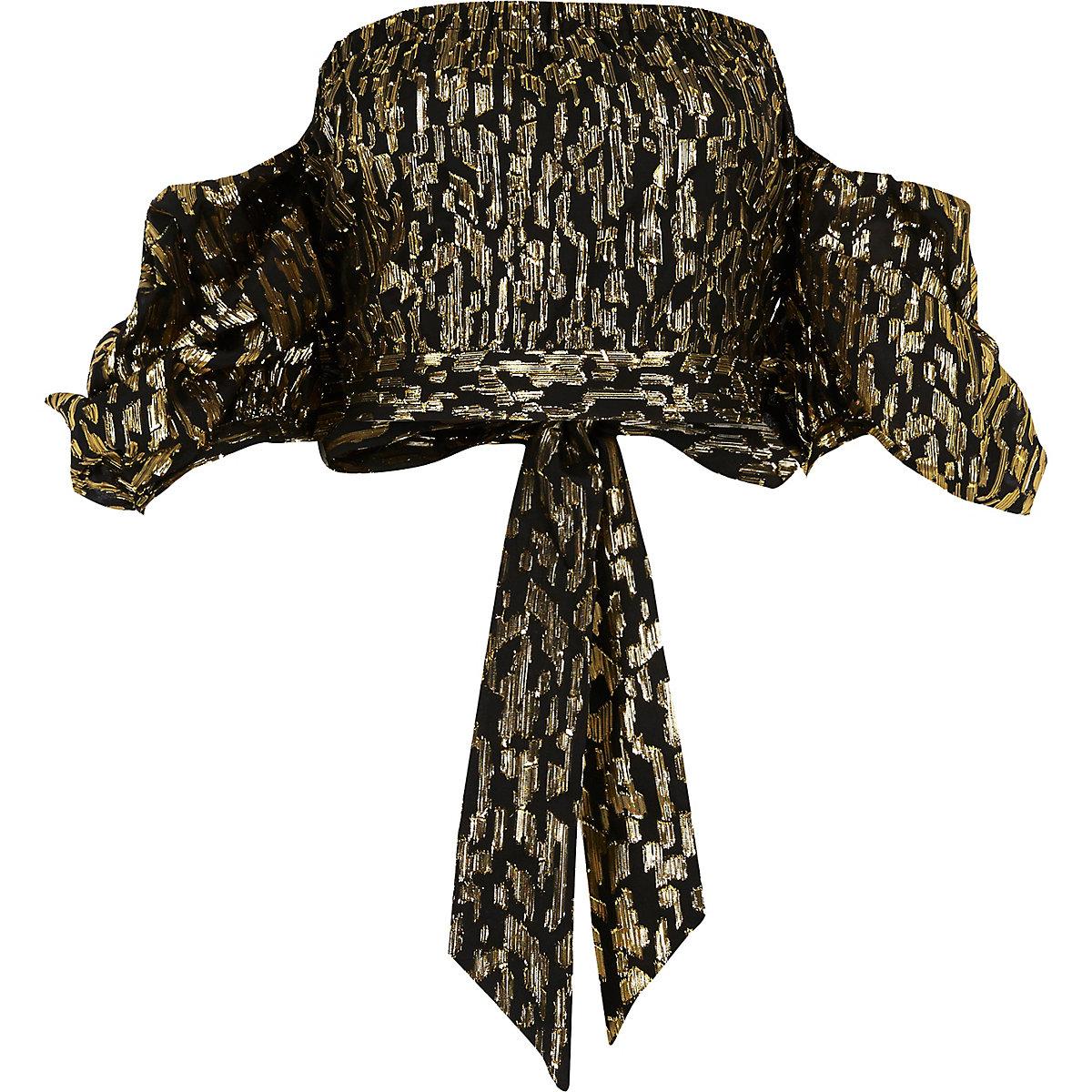 Black jacquard puff sleeve bardot crop top