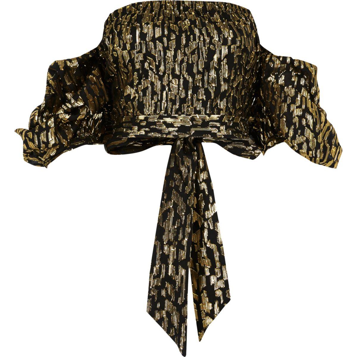 Crop top Bardot en jacquard noir à manches bouffantes
