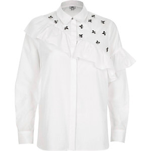 White jewel embellished frill front shirt