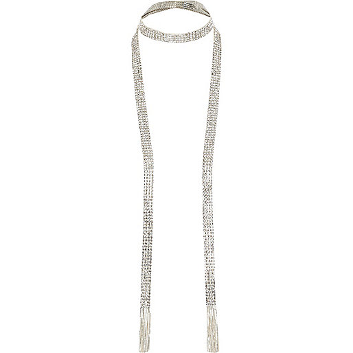 Silver tone cup chain scarf
