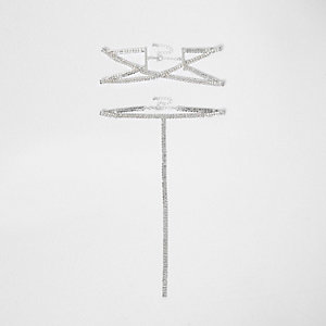 Silver tone cross choker diamante multipack