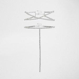 Multipack zilverkleurige chokerkettingen met kruis en diamantjes