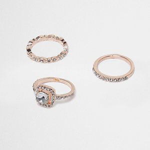 Rose gold tone rhinestone embellished ring pack
