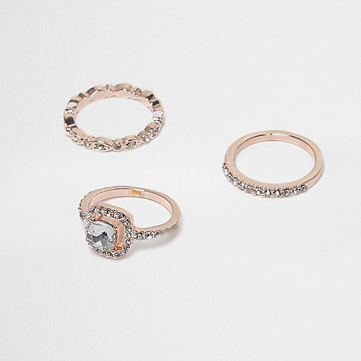 Rose gold tone diamante embellished ring pack