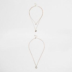 Gold tone circle trio necklace set