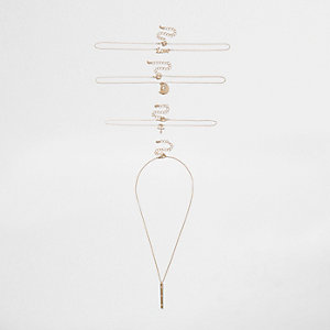 Gold tone 'love' necklace multipack
