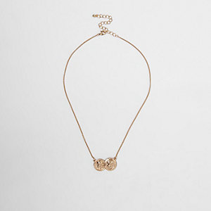 Gold color double coin necklace