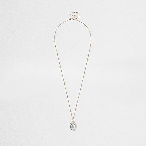 Gold tone semi precious stone necklace