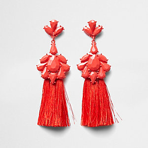 Red tassel drop earrings