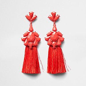 Pendants d'oreilles à pampilles rouges