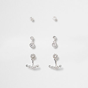 Diamante stud earrings multipack