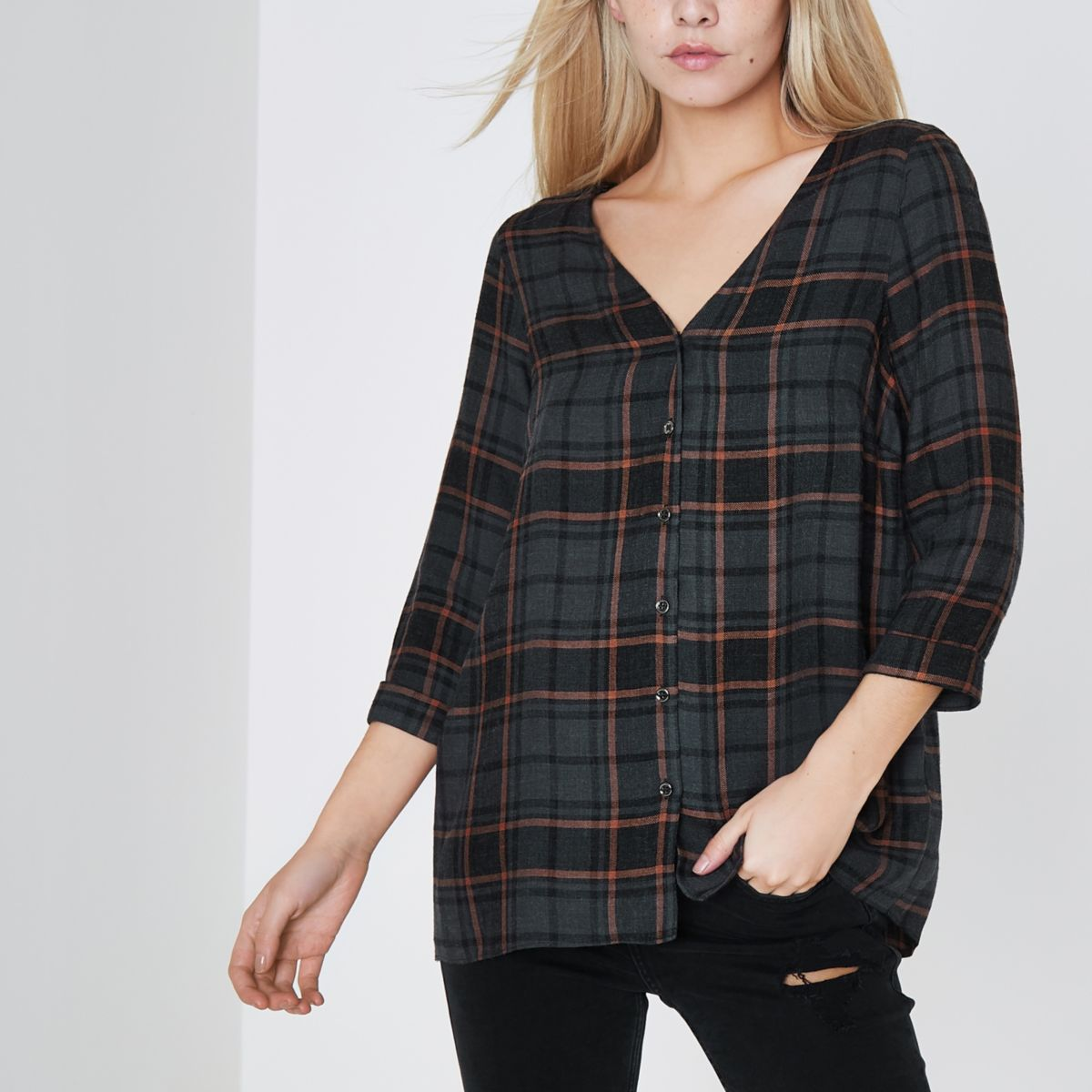 Petite grey check cross back shirt