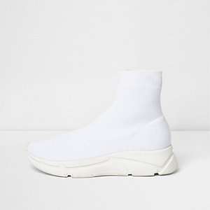 White knitted sock runner sneakers