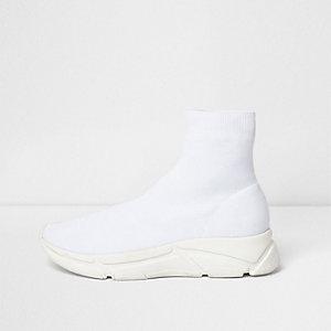 Witte gebreide sokvormige sneakers
