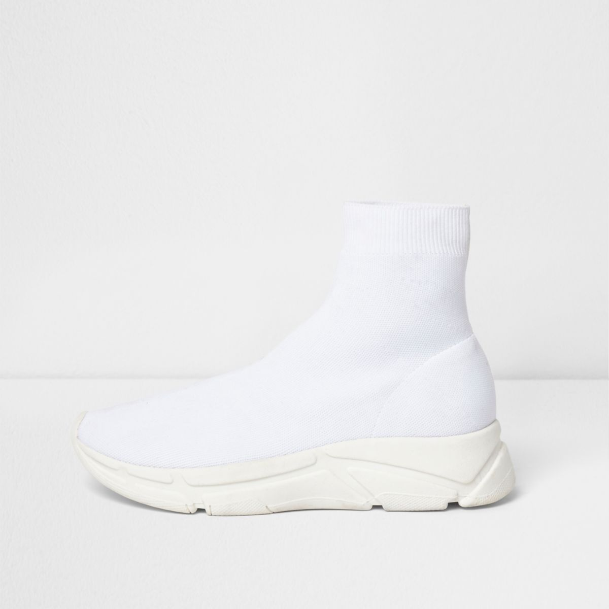 White knitted sock runner trainers