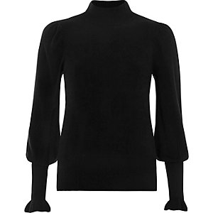 Black puff sleeve high neck sweater
