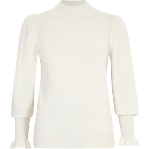 Cream puff sleeve high neck sweater