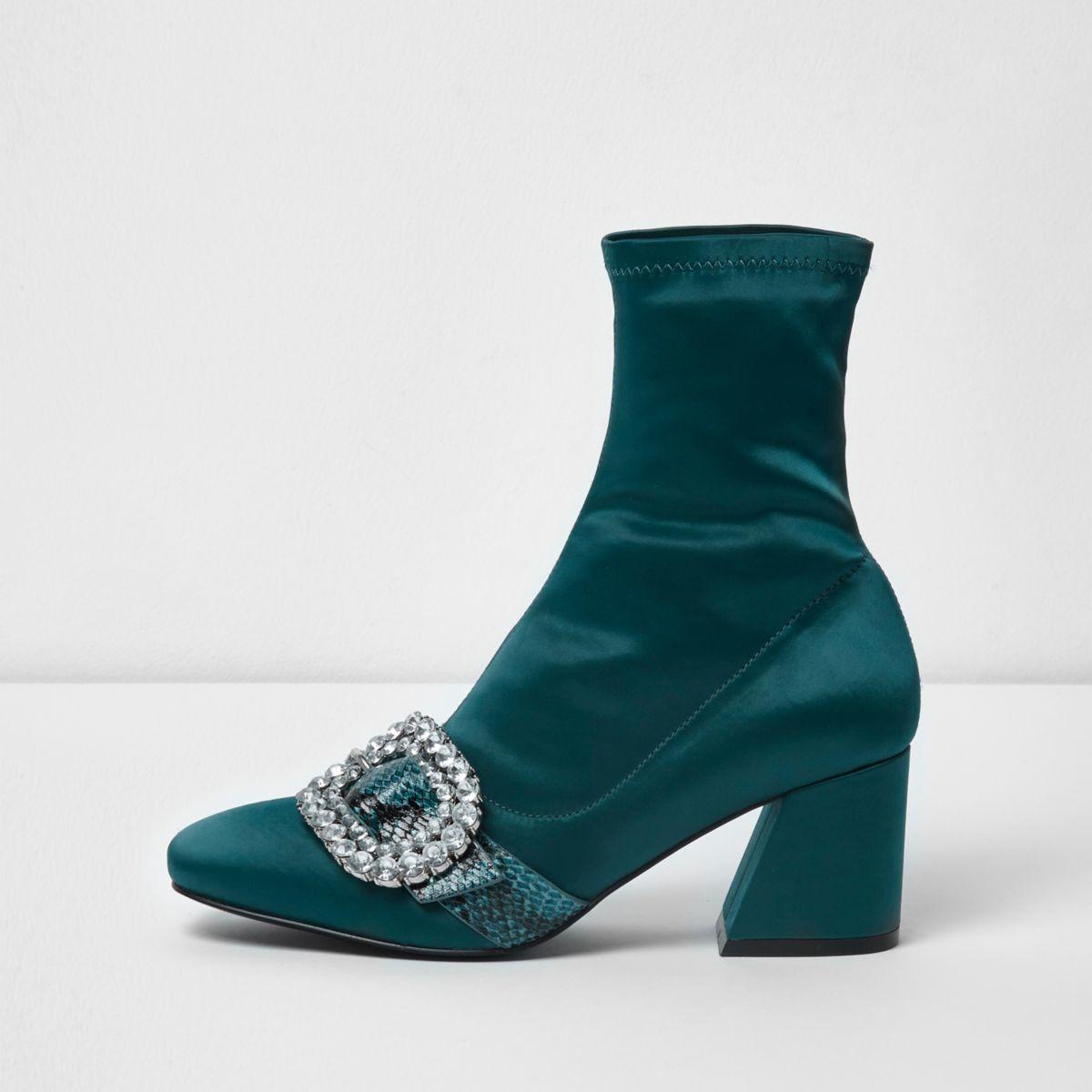 Green snakeskin buckle block heel sock boots