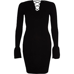Black rib knit lace-up back bell sleeve dress