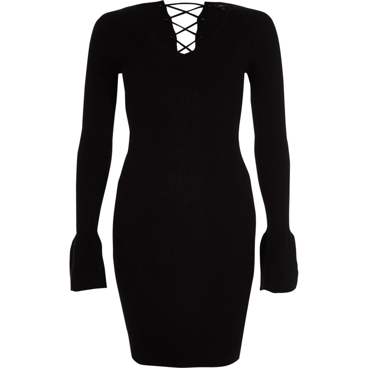 Black rib knit lace-up back bell sleeve dress