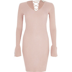 Pink rib knit lace-up back bell sleeve dress