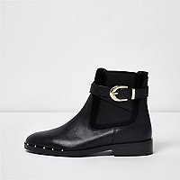 Black leather buckle strap chelsea boots