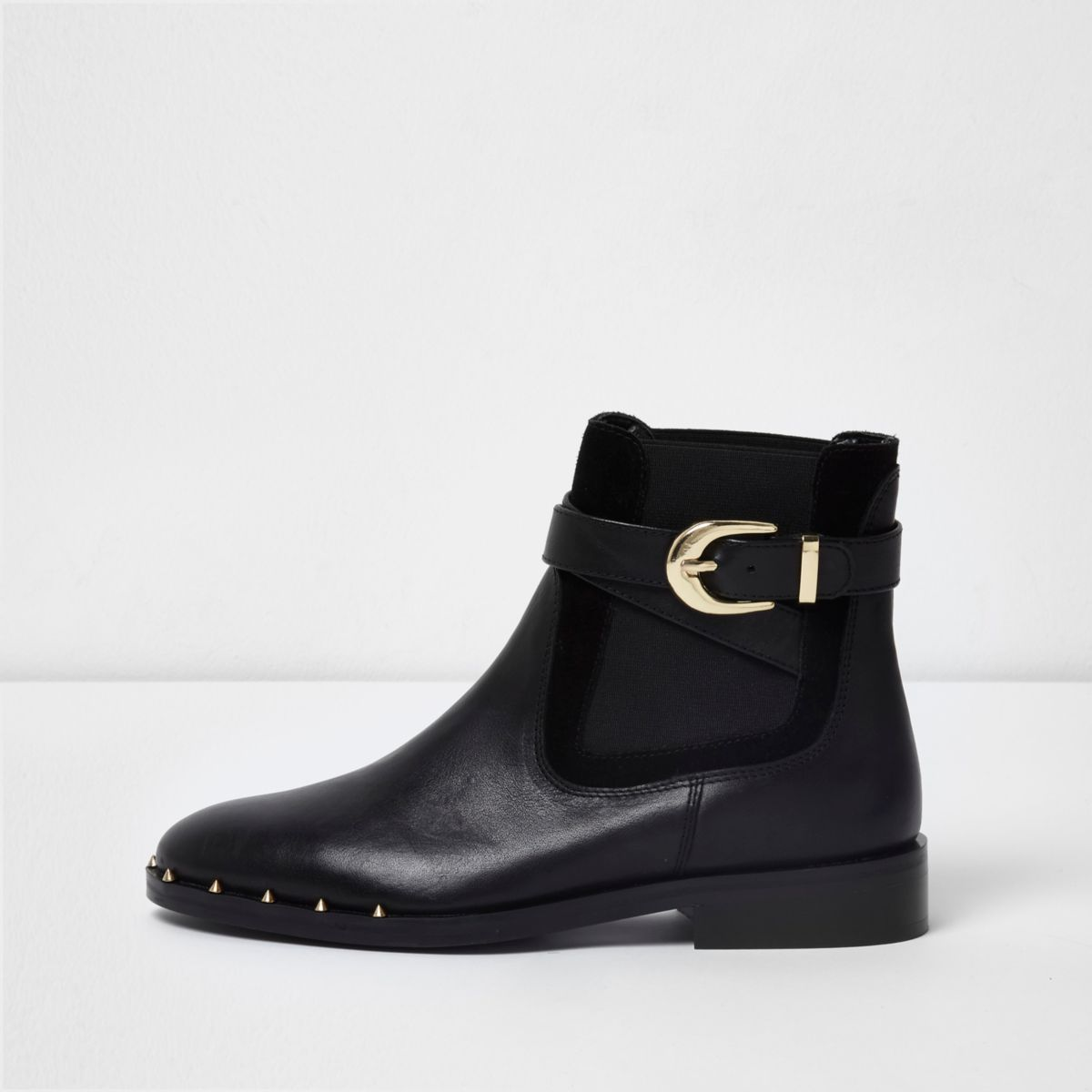 black leather buckle chelsea boots boots shoes