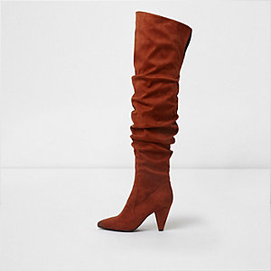 Dark orange over the knee slouch boots