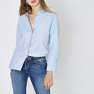 Light blue faux pearl embellished shirt