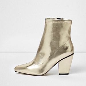 Goudkleurige metallic laarzen met puntige kegelhak