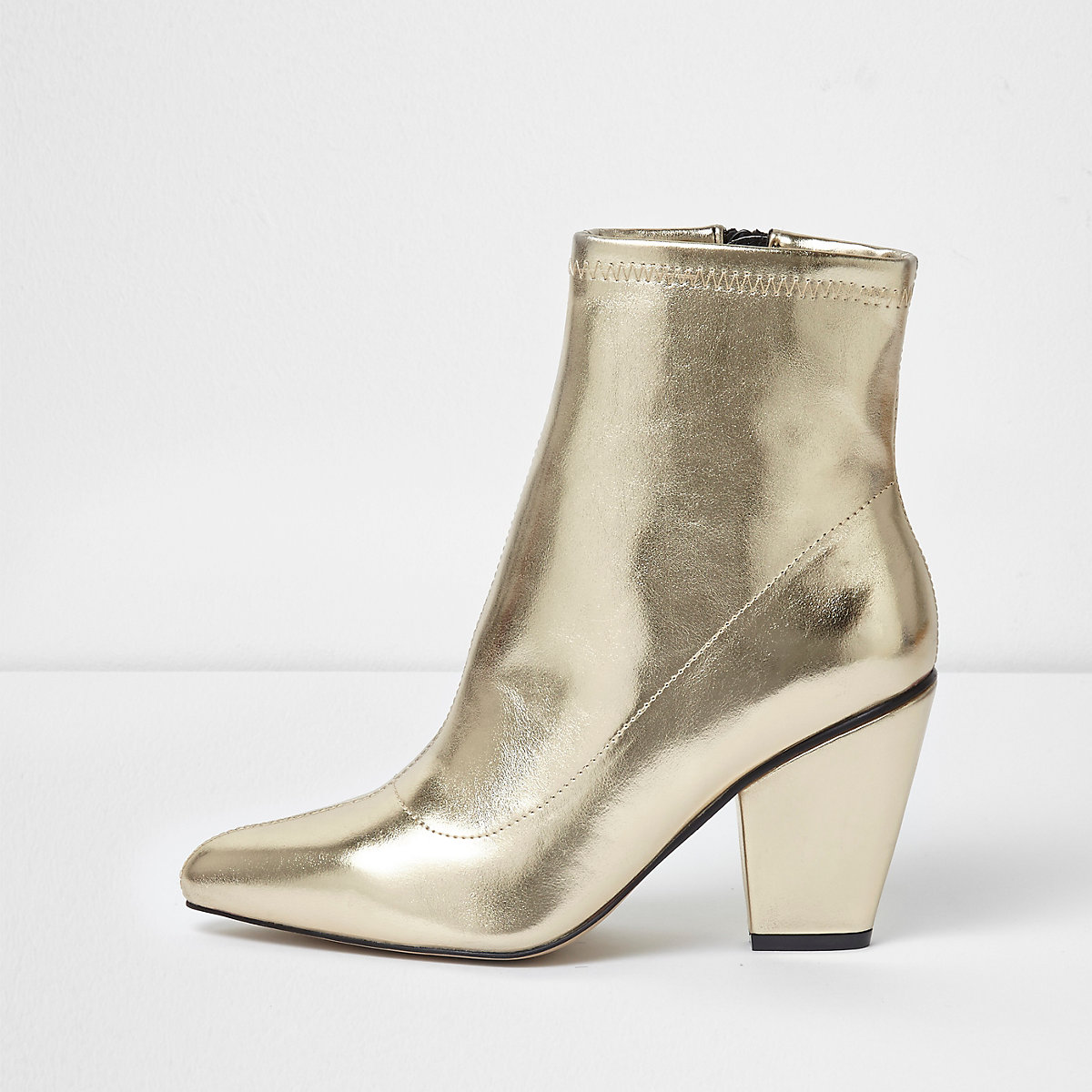 Gold metallic pointed cone heel boots