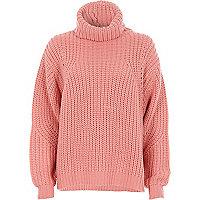 Roze grofgebreide geribbelde pullover met col