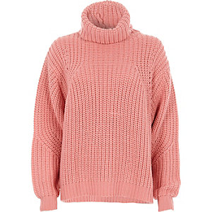 Pink chunky rib knit roll neck jumper