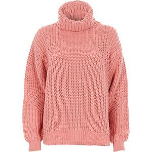 Pink chunky rib knit roll neck jumper
