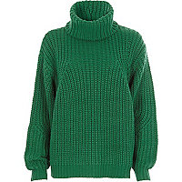 Green chunky knit roll neck jumper