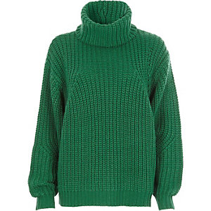 Green chunky knit roll neck sweater