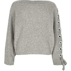 Grey eyelet lace-up sleeve jumper