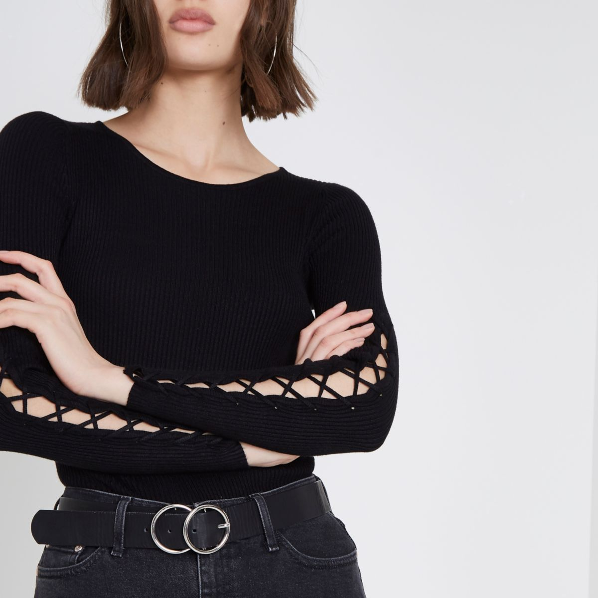 Black rib lace-up sleeve knitted top