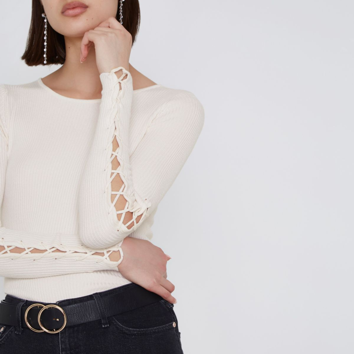 Cream ribbed lace-up sleeve sweater - Knitted Tops - Knitwear - women