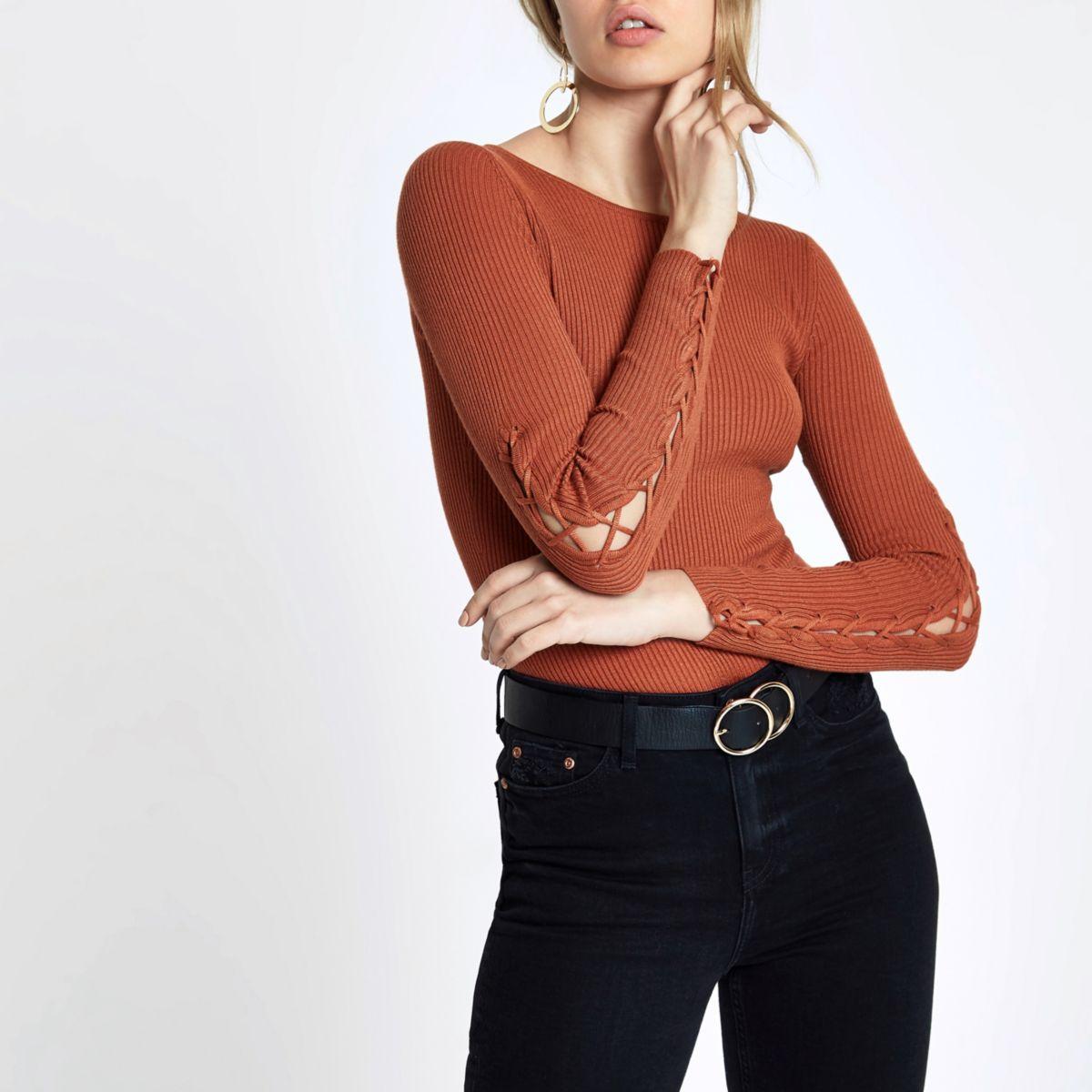Dark orange rib knit lace-up sleeve top