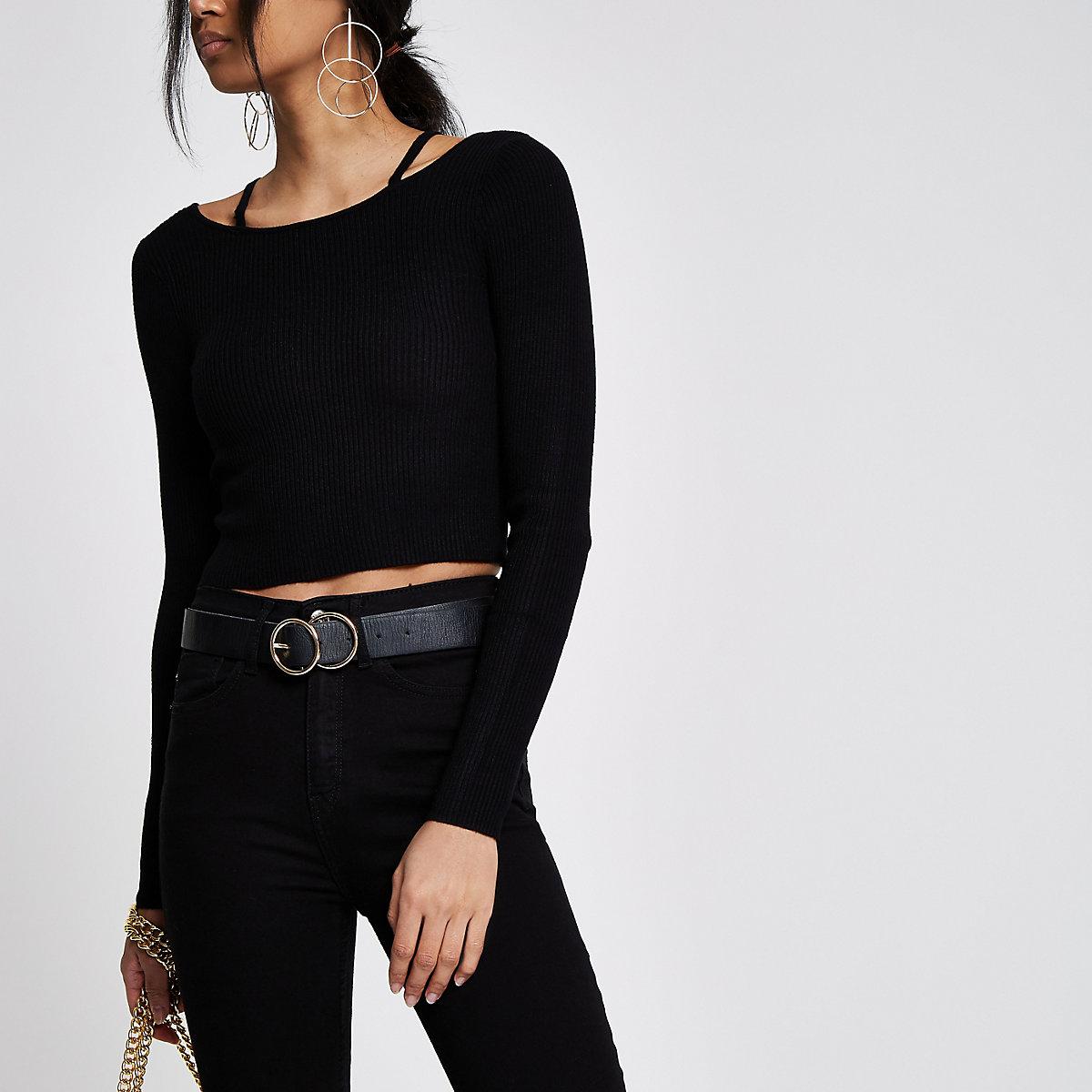 Black rib knit strappy detail crop top