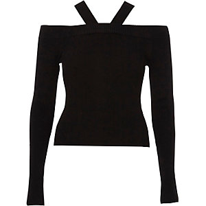 Black tie back rib knit top