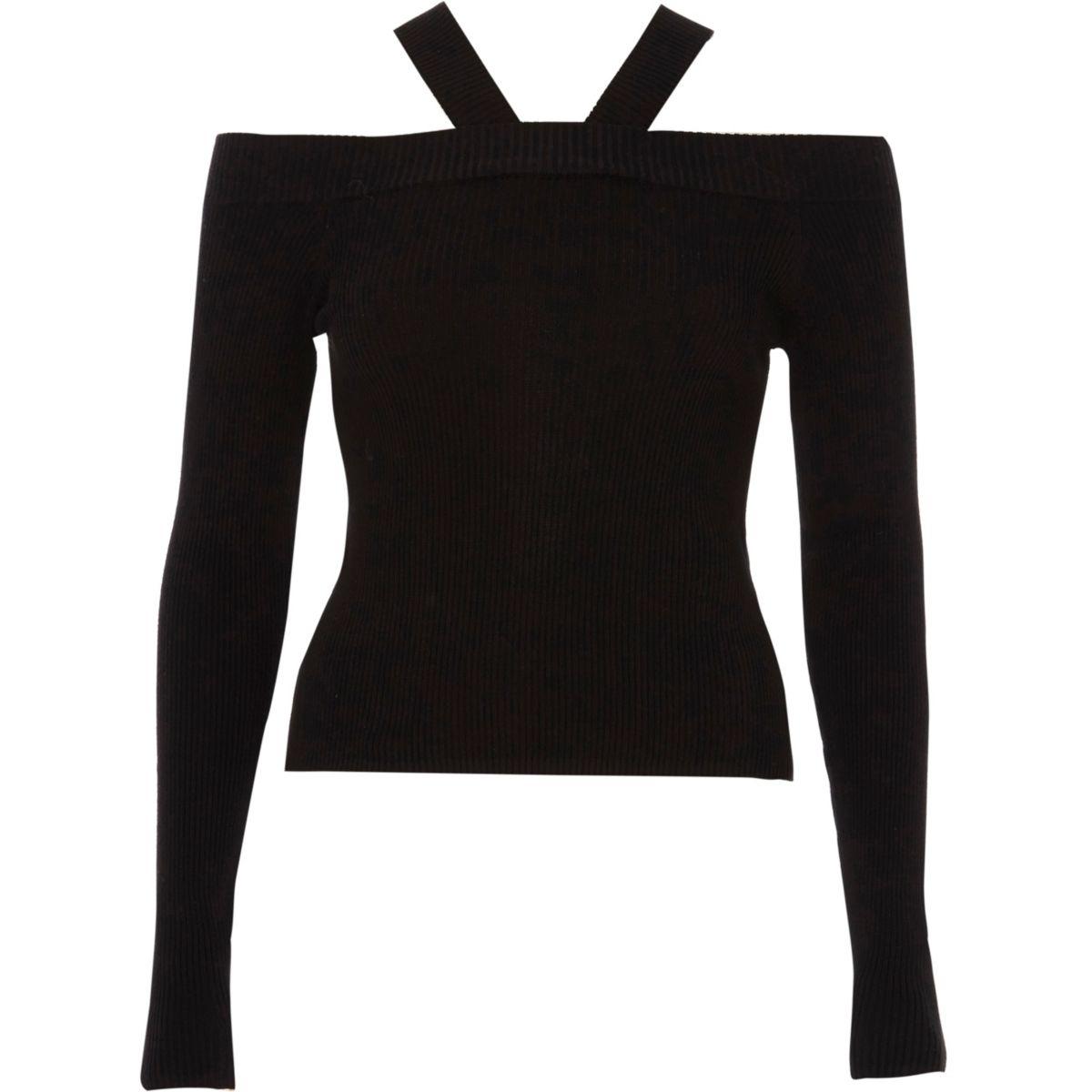 Black tie back rib knit top