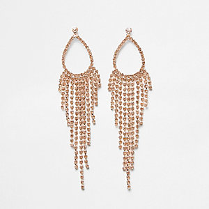 Rose gold tone tassel drop earrings