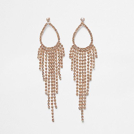 Rose gold tone tassel drop earrings